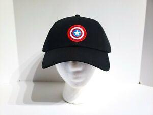 baff1c5990c6e VANS x MARVEL Captain America Shield Logo Black Hat Strapback Cap ...
