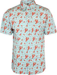Run-amp-Fly-Mens-Lobster-Print-Short-Sleeved-Shirt-Vintage-Retro-Indie-80s
