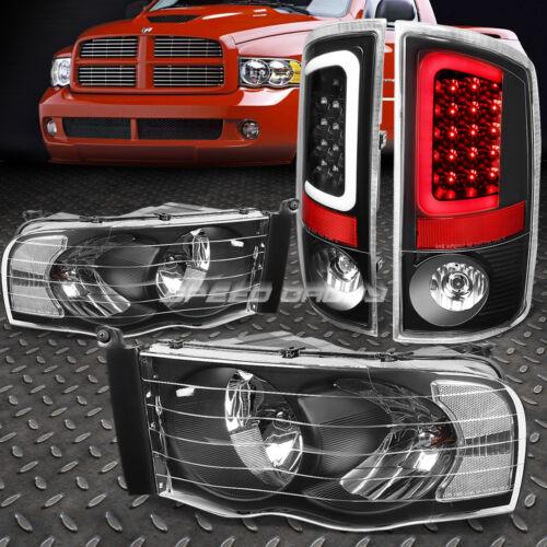 BLACK HEADLIGHT+CLEAR CORNER+BLACK 3D LED BRAKE TAIL LIGHT FOR 02-05 DODGE RAM