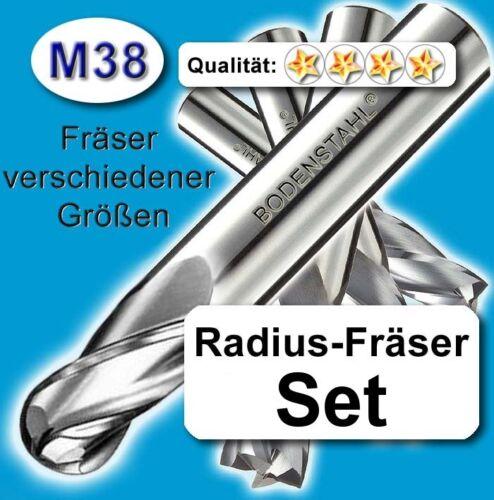 RadiusFräserSatz D=3+4+5+6+8+10+12+16mm Schaftfräser f Metall etc M38