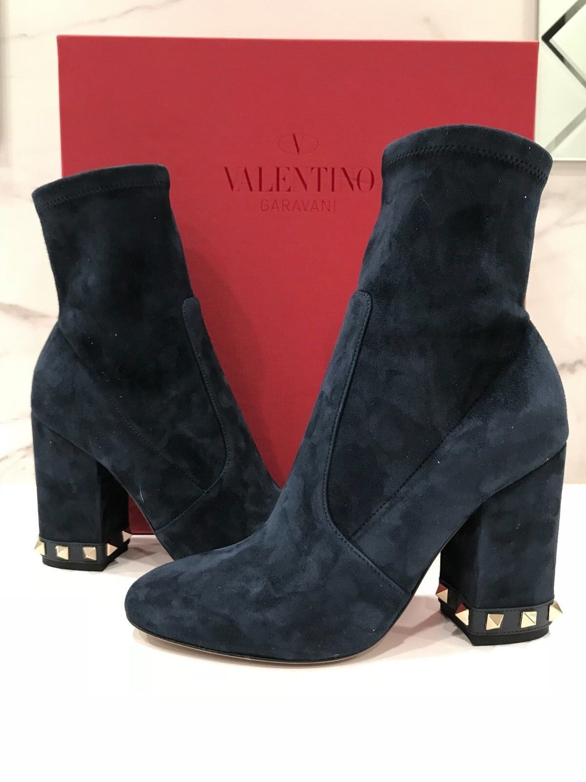 NIB Valentino Rockstud Suede 100 ZippeROT Studded ZippeROT 100 Navy Ankle Booties 35.5 1145 80dd91