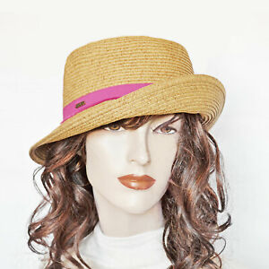 c394d1617e6711 New NINE WEST Packable Toyo Straw Cloche Sun Hat Pink Band UPF 50+ ...