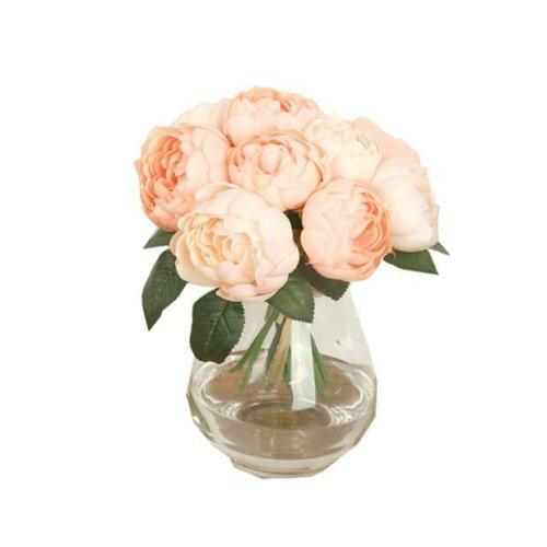 1 Bouquet 6 Heads Artificial Peony Silk Flower Leaf Home Wedding Party Decor