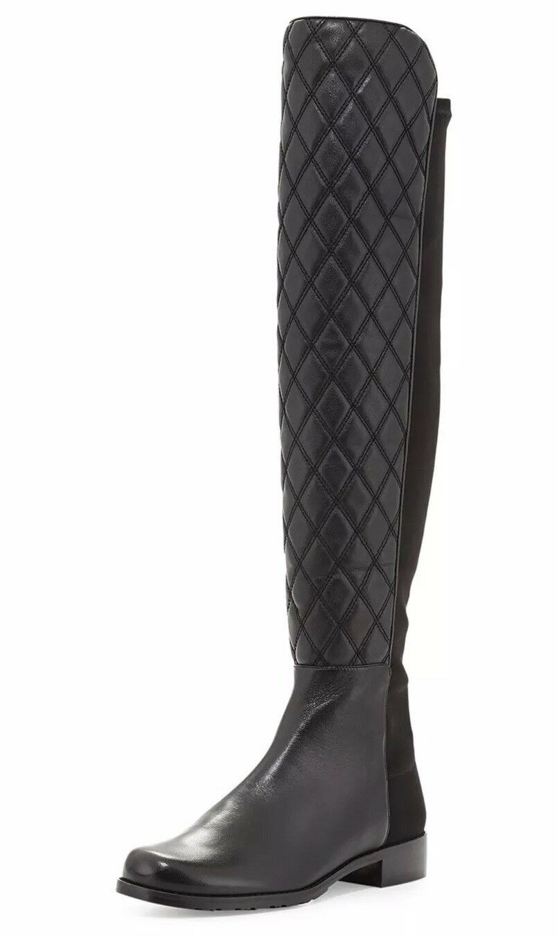 Stuart Weitzman 5050 Quilted Black Leather Boots Size 12 12M 12B 42