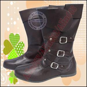 4205456ece7c5c Das Bild wird geladen Lederstiefel-Ruestung-Ritterhelm-Mittelalter-Stiefel- Schuhe-Ritterstiefel-Shoes