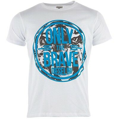 Diesel Hombre T-Jonn Gráfico Camiseta Cuello Redondo Blanco