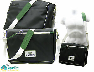 d81da5c38f69a9 LACOSTE MESSENGER Unisex Shoulder Bag Retro Sport 20 BLACK AUTHENTIC ...