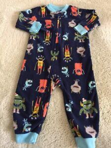 daa204b83839 Carters Boys Blue Orange Gray Monsters Fleece Long Sleeve Pajamas 12 ...