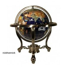 """World Globe 13"""" Atlas Ocean Map w Silver Tripod Stand Hand Crafted Stone Jewels"""