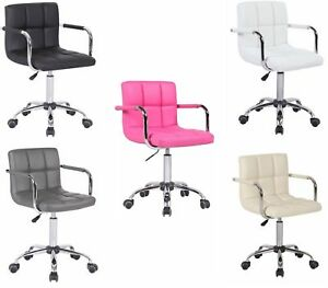 Peachy Details About Stylish Pu Faux Leather Computer Office Desk Swivel Chair Wheels Salon Barber Gmtry Best Dining Table And Chair Ideas Images Gmtryco