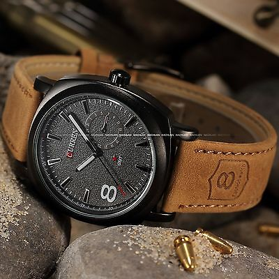 CURREN Mens Army Sport Military Leather Quartz Analog Wrist Watch