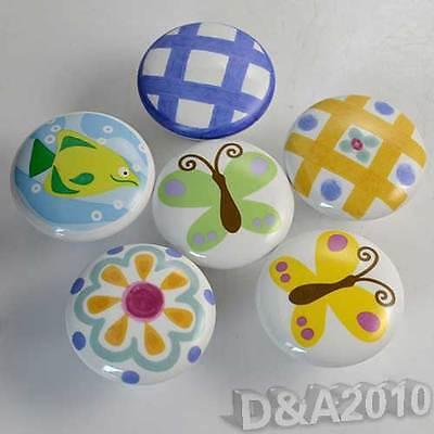 Round Ceramic Patterned Kitchen Cabinet Cupboard Door Drawer Pull Knob Handle