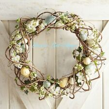 """NEW PIER 1 IMPORTS GRAPE VINE SPECKLED EASTER EGGS FLORAL SPRING WREATH 22"""" NWT"""