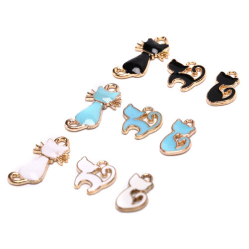 10Pcs//Set Enamel Alloy Cat Charms Pendant Jewelry Finding DIY Craft Making  RAS