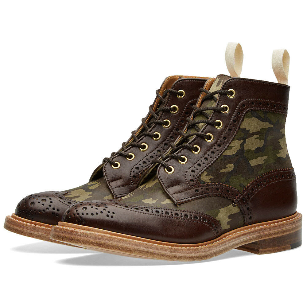NIB Tricker's Camo Insert Kelmscott Brogue Boots (Made in England)   695