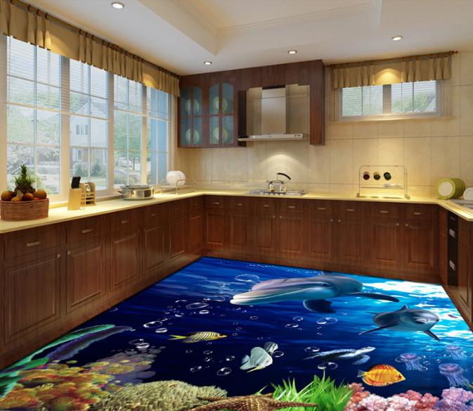3D Dolphin Fish 5096 Floor WallPaper Murals Wallpaper Mural Print AJ AU Lemon