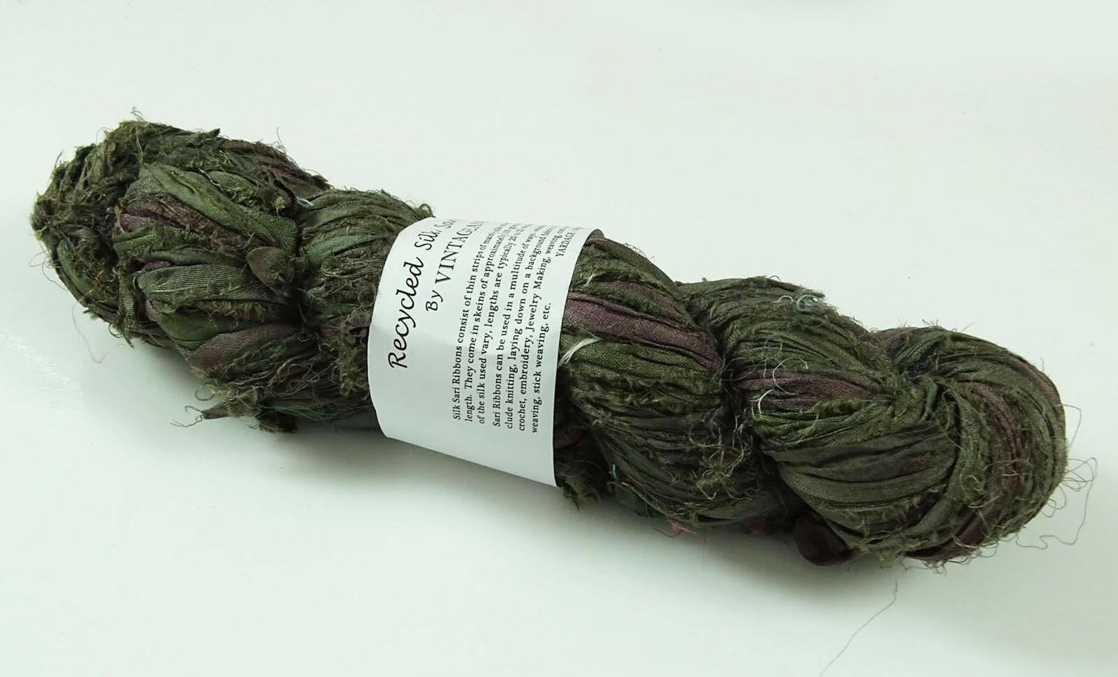 100g Sari Silk Ribbon craft ribbon jewelry making bright green