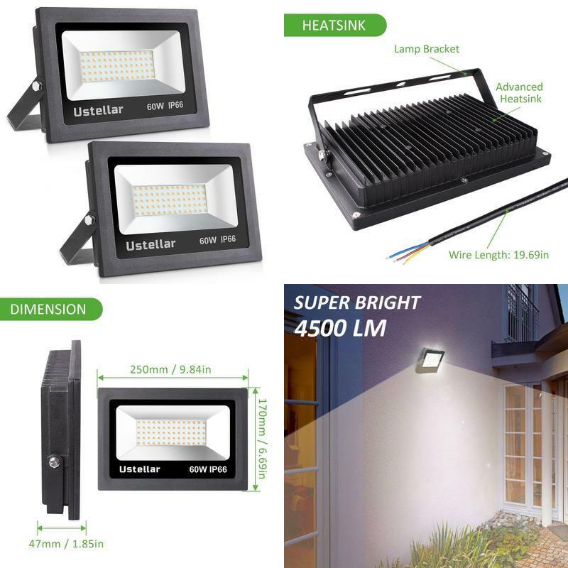 2 Pack Pack Pack 60W Bulb LED Flood Light Outdoor IP66 Waterproof 4500lm 300W Garden Lamp 9786c6