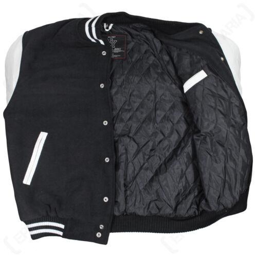Stile Vintage NY Baseball Jacket-Nero Letterman Varsity Jersey Tutte Le Taglie NUOVO