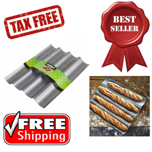 French Baguette Pan Non-Stick Bread Baking Loaves Mold Cooking Silver Steel Tray