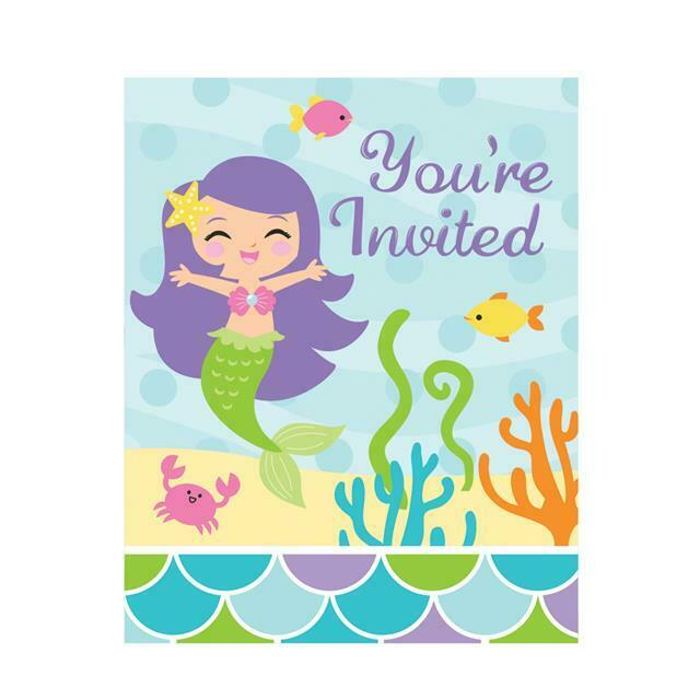 Mermaid Friends Birthday Party Invitations Envelopes X 8 For Sale Online