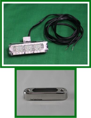 Interior Courtesy Green /'Dragon/' 4 LED Light with Vertical Stainless Steel Base