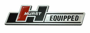 Hurst Equipped Chrome Adhesive Dash Trunk Console Emblem 5 x 1 1 4