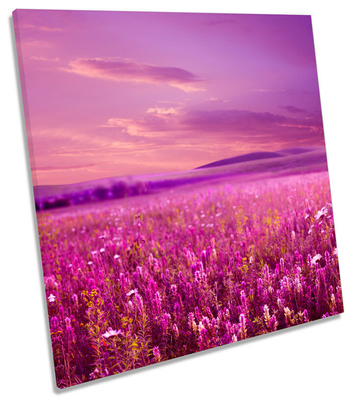 Blossom Field Floral Flowers SQUARE CANVAS WALL ART Boxed Framed
