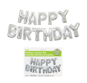 Happy-Birthday-Balloon-Banner-Kit-Silver-Air-Party-Decoration-Letters-Value