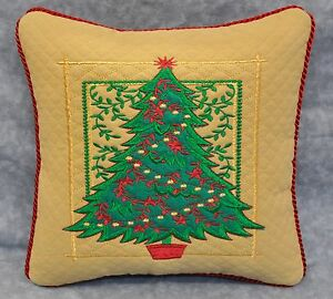 Embroidered & Appliqued Christmas Tree Pillow made w Gold Matelasse Fabric /Cord