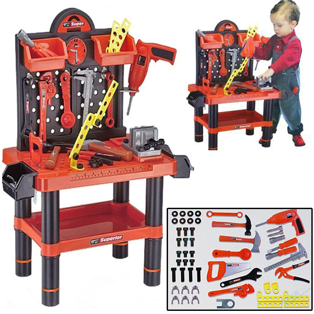57pc Large Kids Tool Set Work Bench Child Workshop Toolbench Pretend Playset Toy Ebay