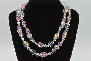 Genuine-Glass-Pink-Aurora-Borealis-Crystal-Strand-Vintage-Necklace-Shiny-Bin3