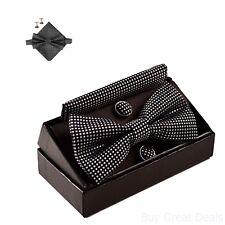 Fashion High Quality Mens Checkered Bow Tie Handkerchief Cufflinks Kit Set Black