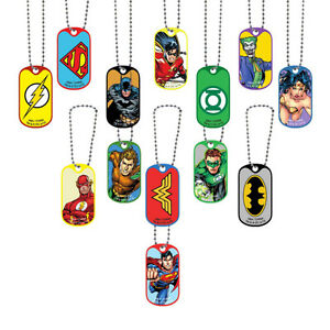 LOT OF 100 DC COMICS DOG TAG NECKLACES KEYCHAINS, BATMAN SUPERMAN WONDER WOMAN