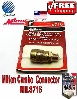 """1//4 NPT MALE /""""M/"""" STYLE AIR LINE COUPLER MILTON S716 Quick Connector Made in USA"""