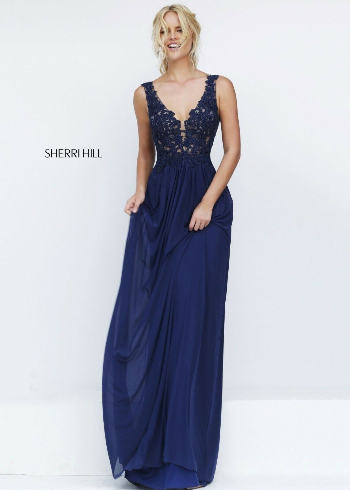 NWT Sherri Hill Navy bluee Lace Flower Elegant Ball Gown Prom Dress Size 00