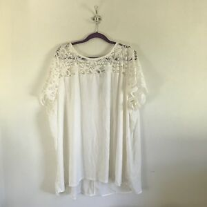9f1107ad537 Torrid White Top Lace Women s Size 5 NWT Short Sleeve Buttons On ...