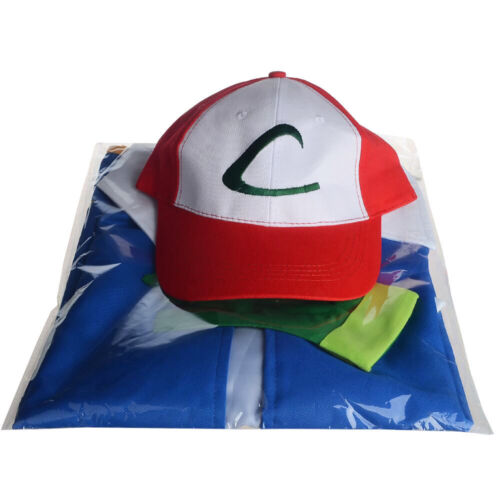 Hat Pokemon Ash Ketchum Trainer Costume Cosplay Shirt Jacket Gloves