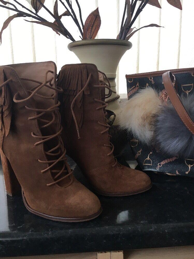 River Island suede tassel boots Größe:4 Eu:37