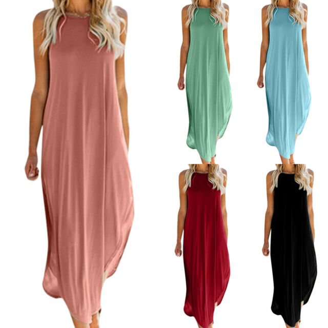 Women Sleeveless Maxi Long Dress Summer Holiday Beach Kaftan Sun Dress Plus Size