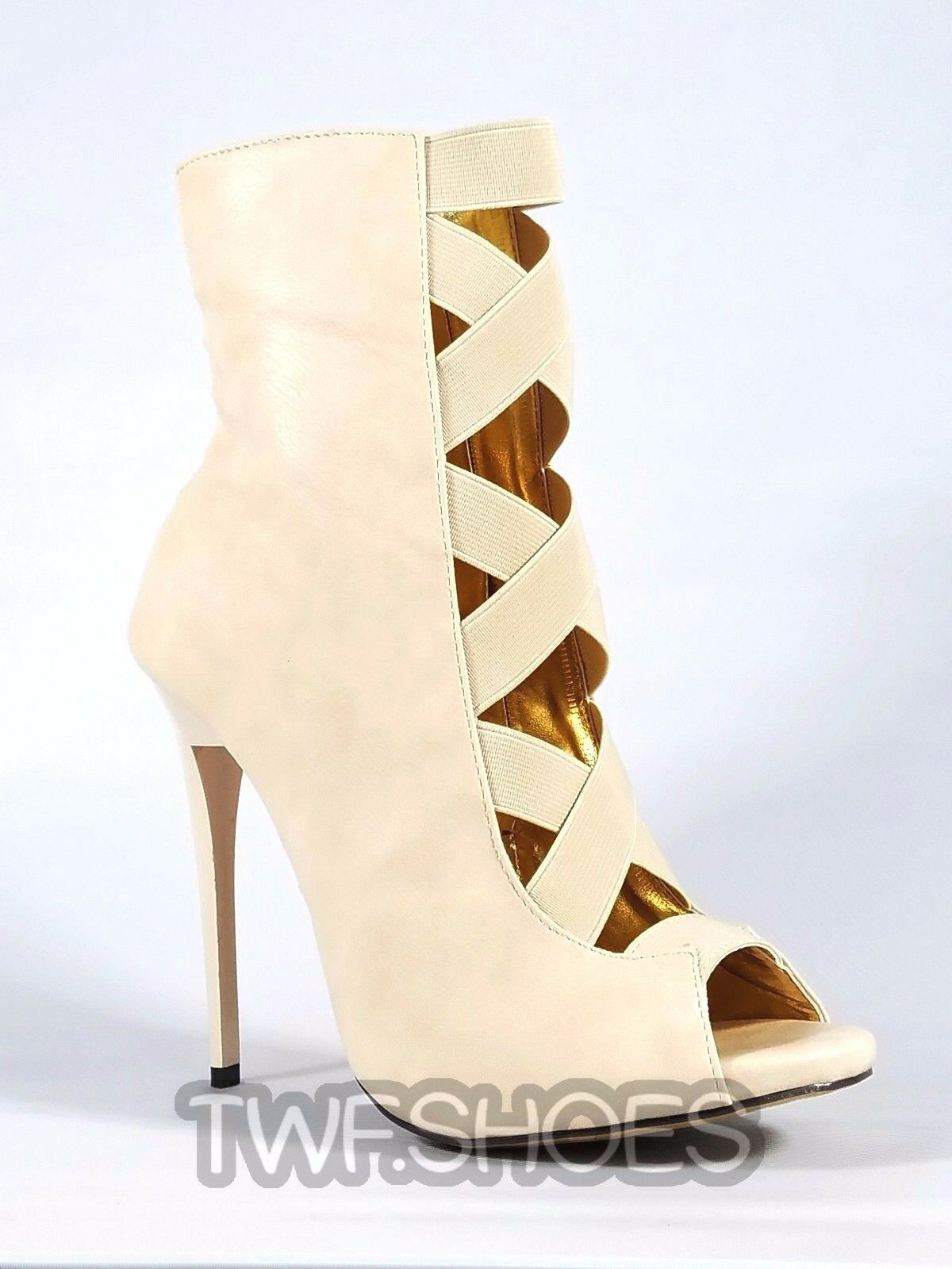 MM Dioselin Nude Open Elastic Strap Ankle Boot 4.75