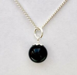 925-Sterling-Silver-8-mm-Diameter-Black-Onyx-Stone-Ball-Charm-Pendant-With-Chain