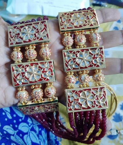 Kundan Long Haram Necklace Bollywood Jewelry Polki Onyx Ruby Statement Set Raani