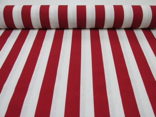 Sofia Stripes Curtain Upholstery Material 280cm wide RED White Striped Fabric