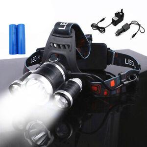 Rechargeable Head Torch Headlamp Light Lamp 12000 Lumens 3 x XML T6 LED Zoom UK
