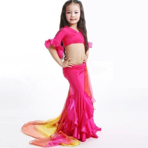 3 Colors 2 Sizes R007# Kids Girls Belly Dance Mermaid Costume Top, Skirt