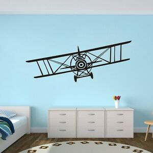 Airplane wall sticker biplane vinyl school baby play room for Aeroplane wall mural