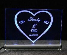 Leuchtschild Herz + Ringe mit Gravur Ihrer Namen + Datum Hochzeit Valentinstag