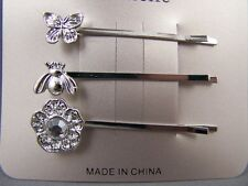 set pack of Silver Butterfly Bee Flower bobby bobbi pins barrette hair pin clip