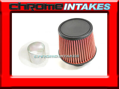 "RED UNIVERSAL 3/"" FLAT TOP AIR FILTER FOR SUZUKI//SAAB SHORT//COLD AIR INTAKE"